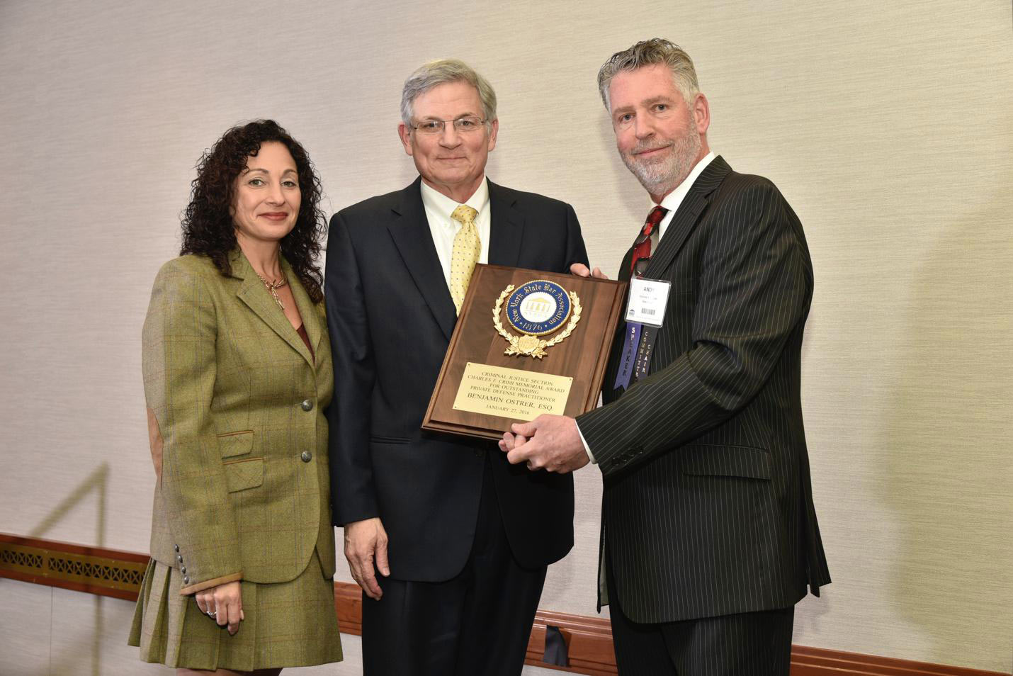 Ben Ostrer, Andrew Kossover and Sherry Levin Wallach Receiving NYSBA Criminal Justice Section Charles F. Crimi Memorial Award